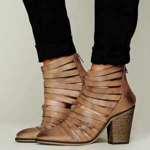 Free People Hybrid Strappy Distressed Bootie Sz 37